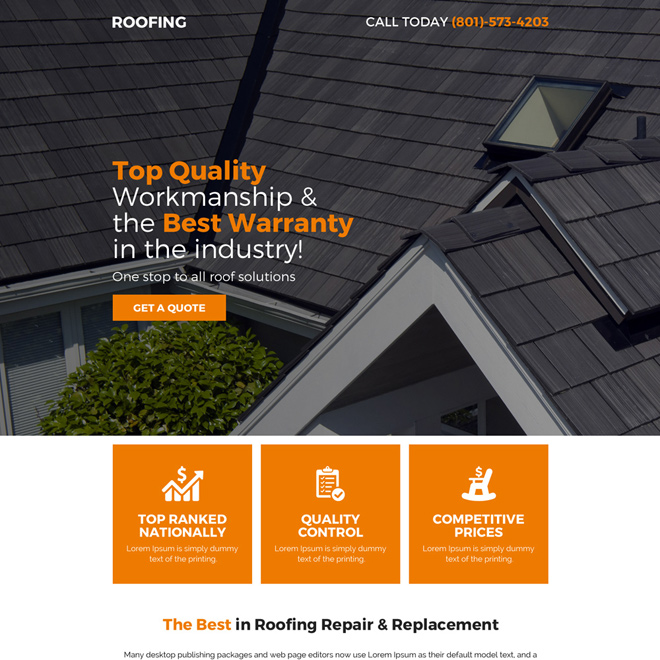 quality roofing service responsive pay per click landing page Roofing example