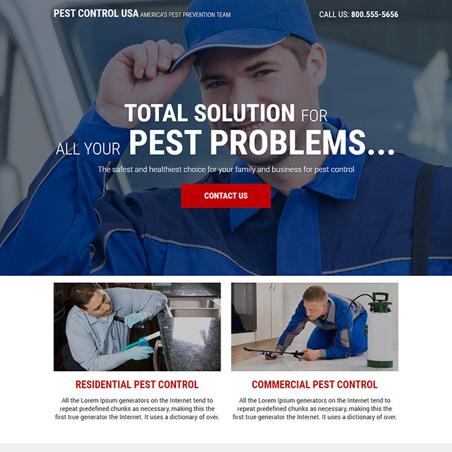 reliable pest control service responsive landing page design Pest Control example