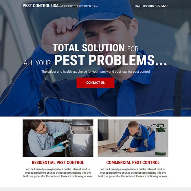 reliable pest control service responsive landing page design Pest Control example