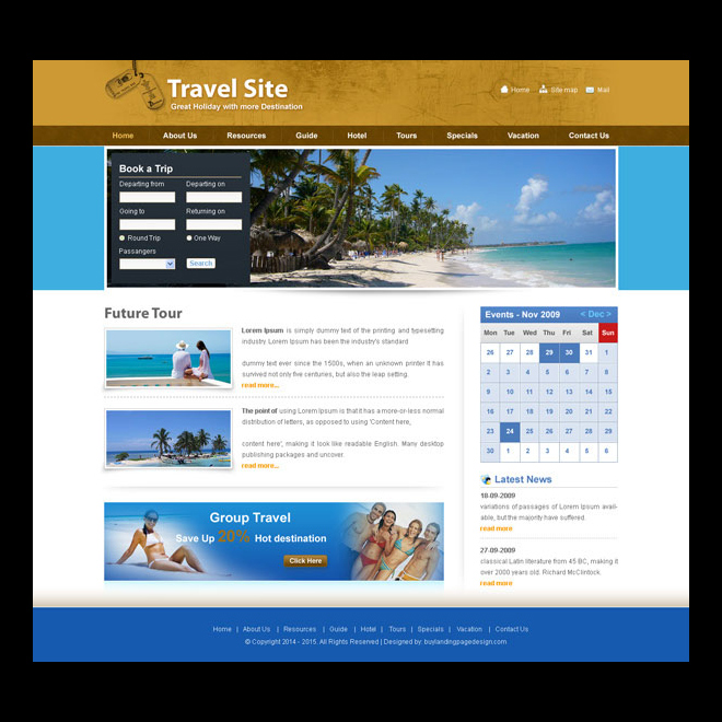 book a trip attractive and appealing tours and travels website design psd Website Template PSD example