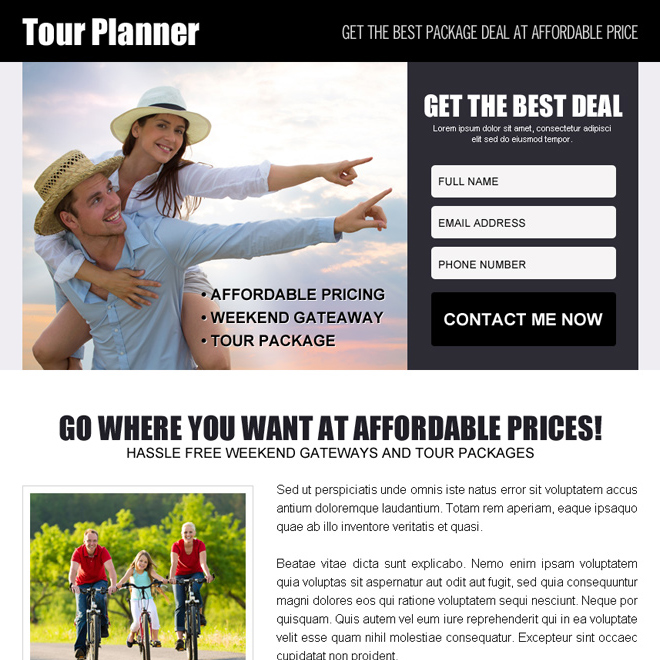 tour planner lead capture ppv landing page design template Travel example