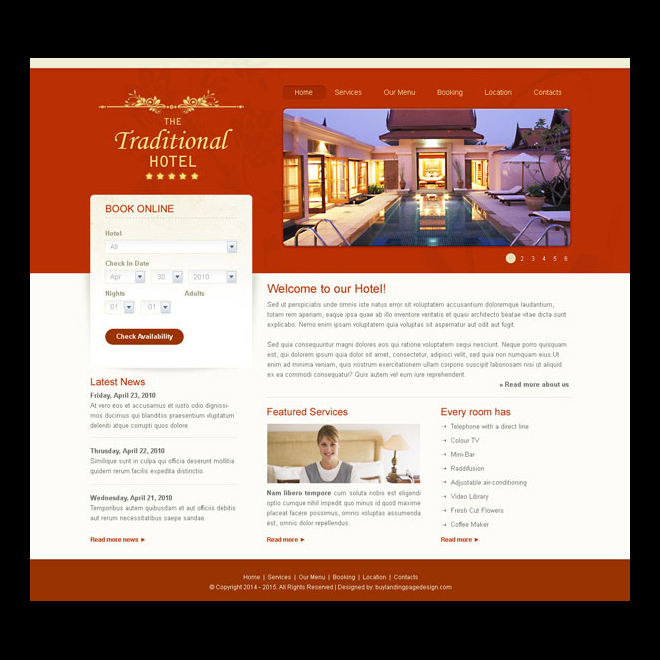 traditional hotel clean and professional hotel website template design Website Template PSD example