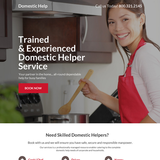 trained and experienced domestic help service landing page Domestic Help example