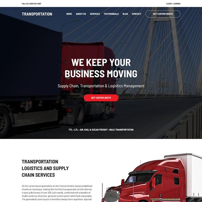 transportation and logistics management service website design Transportation example