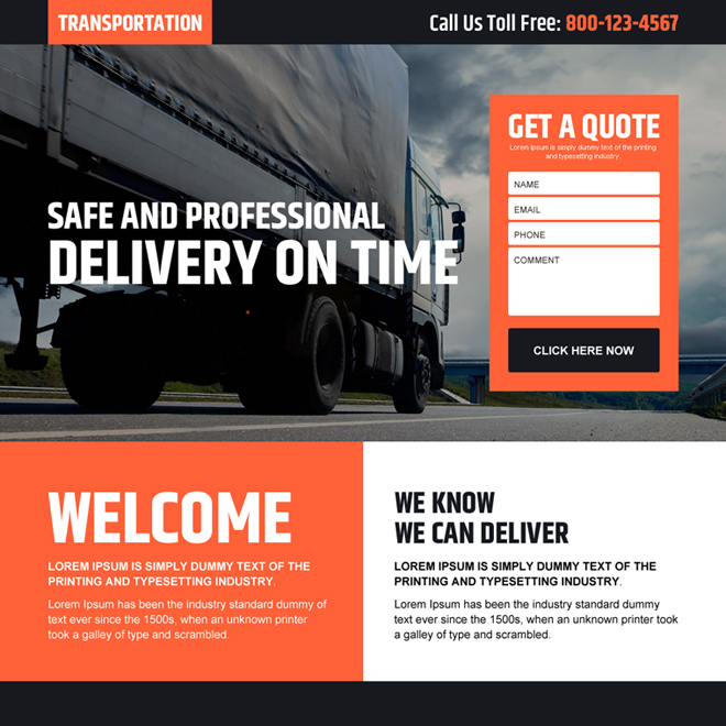transportation service free quote lead generating responsive landing page design Transportation example