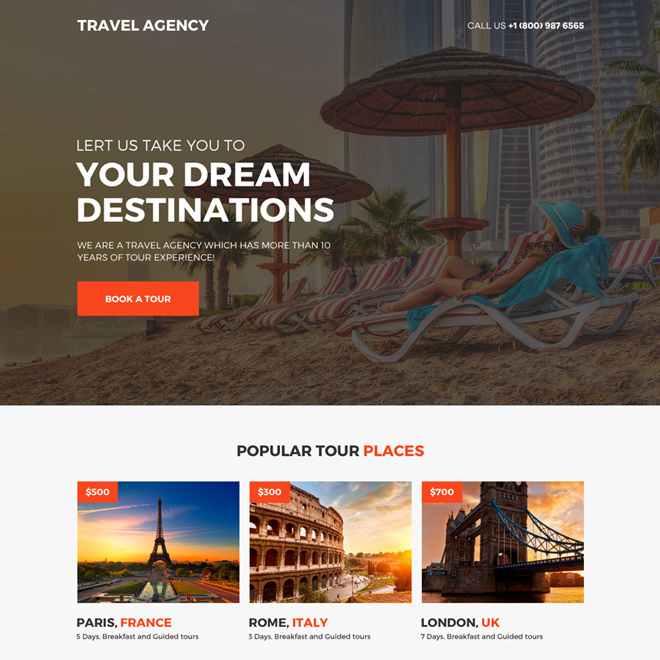 travel agency call to action mini landing page design Travel example