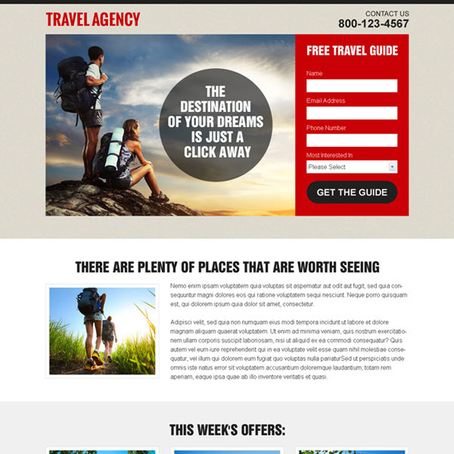 appealing and converting travel agency lead capture landing page design template Travel example