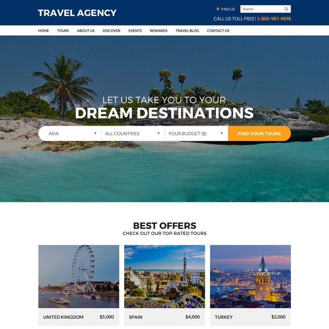 travel agency best converting responsive website design Travel example