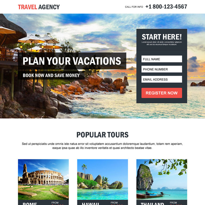 travel agency plan your vacations lead capture converting landing page design Travel example