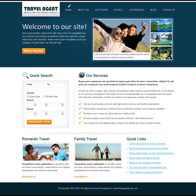 travel agent clean and converting website template design psd Website Template PSD example