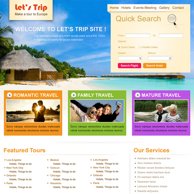quick search travel and trips website template design psd Website Template PSD example