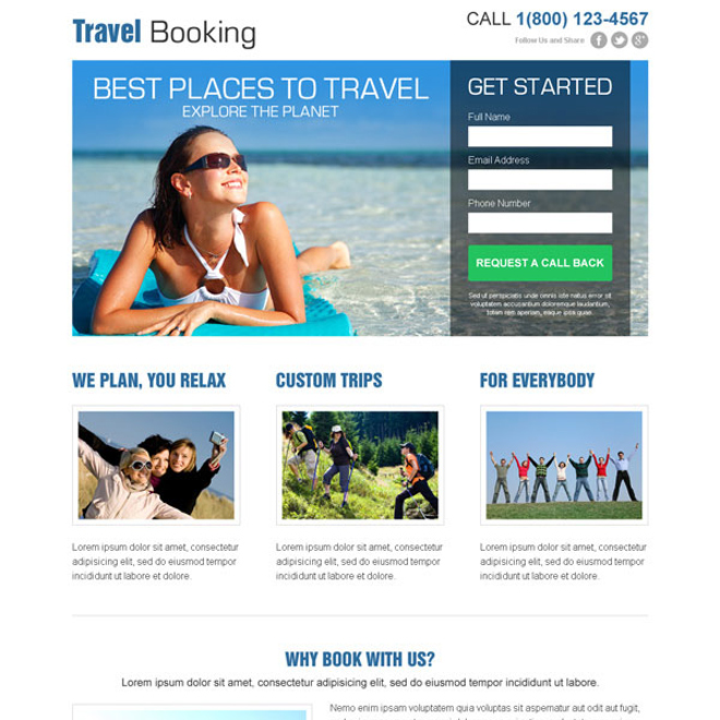 clean and attractive travel booking lead capture landing page design Travel example