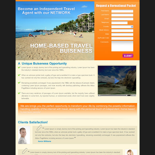 home based travel business lead capture landing page for sale Landing Page Design example