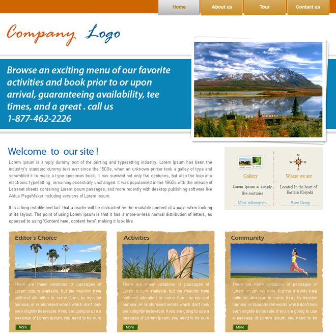 travel company website template design psd Website Template PSD example