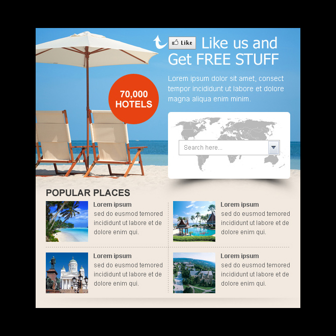 travel lead capture facebook fan page design template PPV Landing Page example