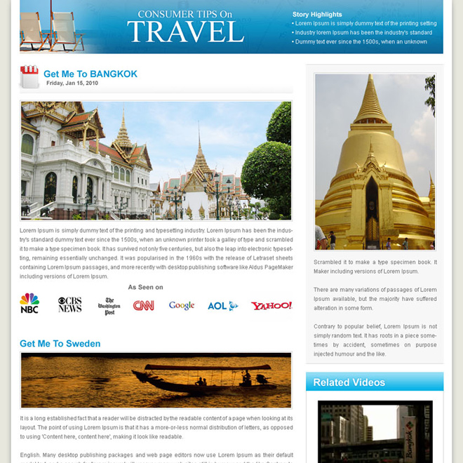 flog style travel landing page design template Flogs example