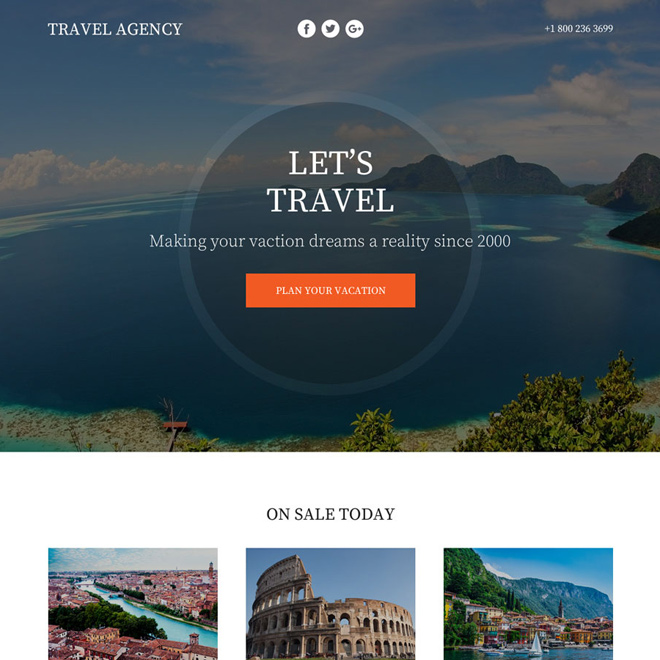 appealing travel agency lead funnel landing page Travel example