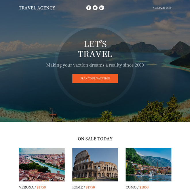 best tour and travel lead funnel responsive landing page design Travel example