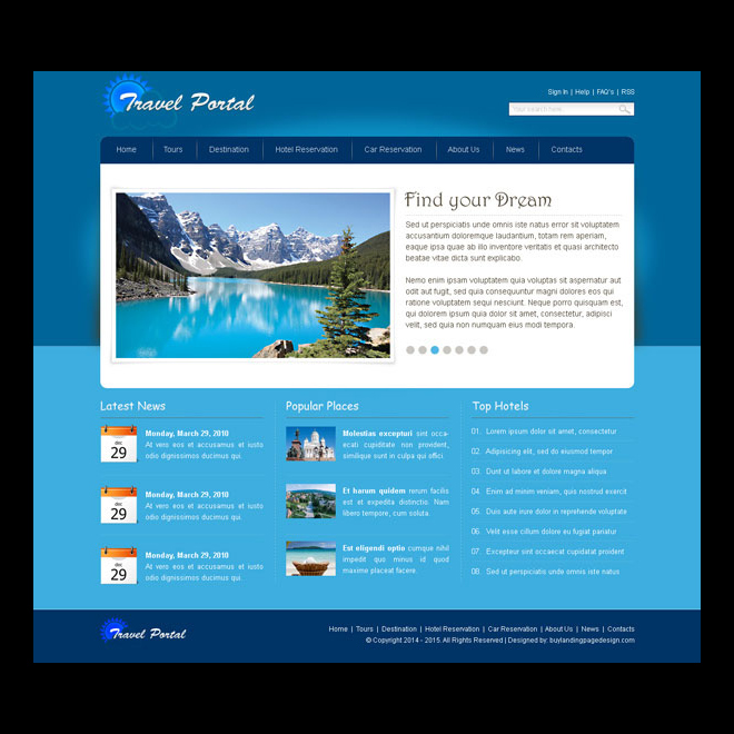 travel portal simple and user friendly website template design psd Website Template PSD example