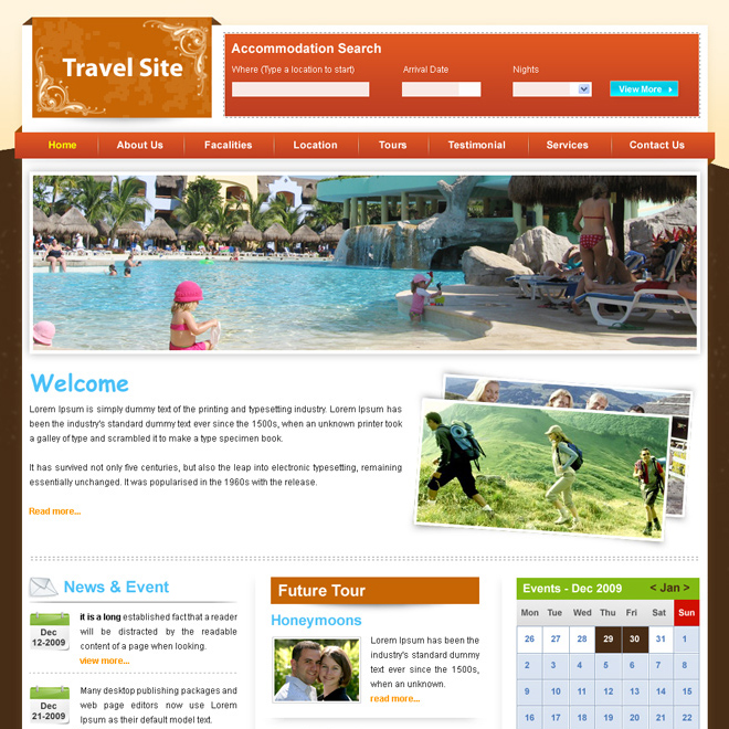 clean travel website template design psd Website Template PSD example