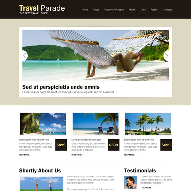 best travel website design psd for your tours and travels business Website Template PSD example