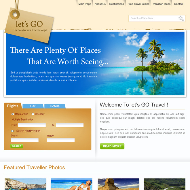 travel website design template psd for sale Website Template PSD example