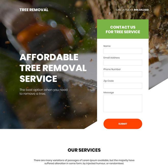 affordable tree removal service lead generating bootstrap landing page Home Improvement example