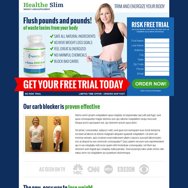 weight loss supplement free trial effective html landing page design Weight Loss example