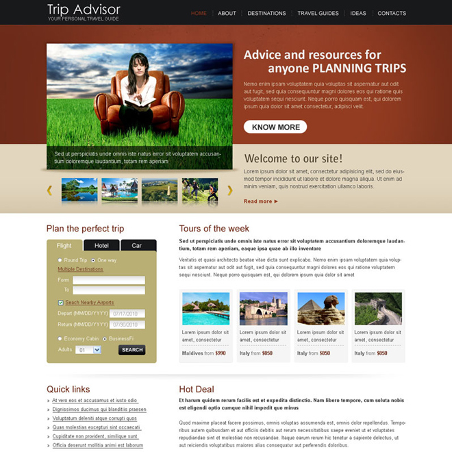 trip advisor best website template design psd Website Template PSD example