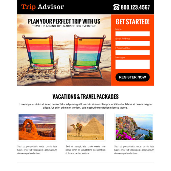 trip advisor clean and attractive lead capture landing page design template Travel example