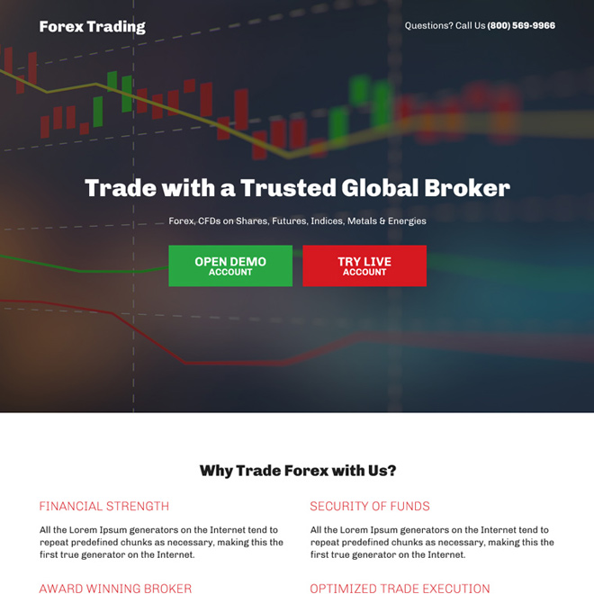 trusted global broker sign up capturing bootstrap landing pages Forex Trading example
