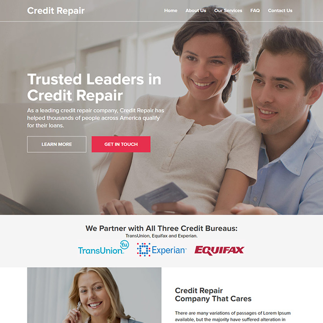 leading credit repair company responsive website design Credit Repair example