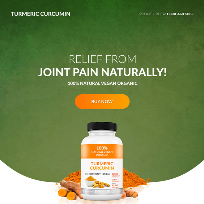 turmeric curcumin pain relief product selling responsive landing page design Pain Relief example