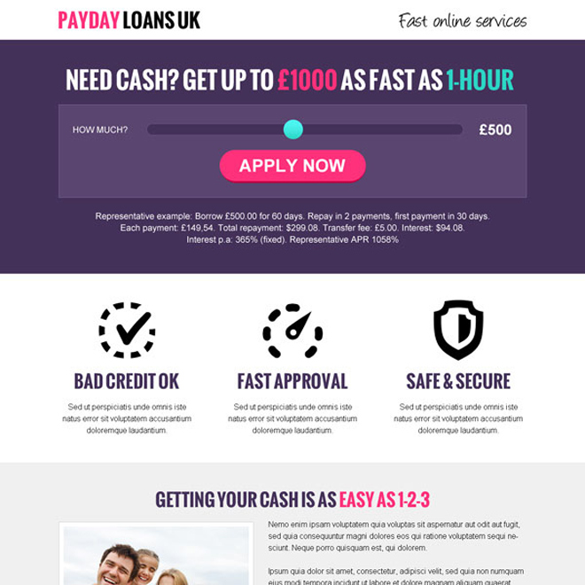 payday loan uk single slider conversion centered responsive landing page design Payday Loan example