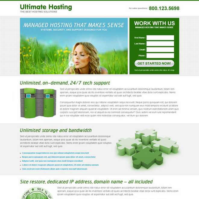 ultimate hosting lead capture landing page to increase your leads and sales Web Hosting example