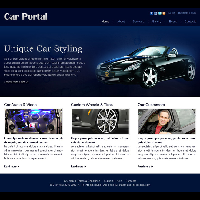 unique car styling website template design psd for sale Website Template PSD example