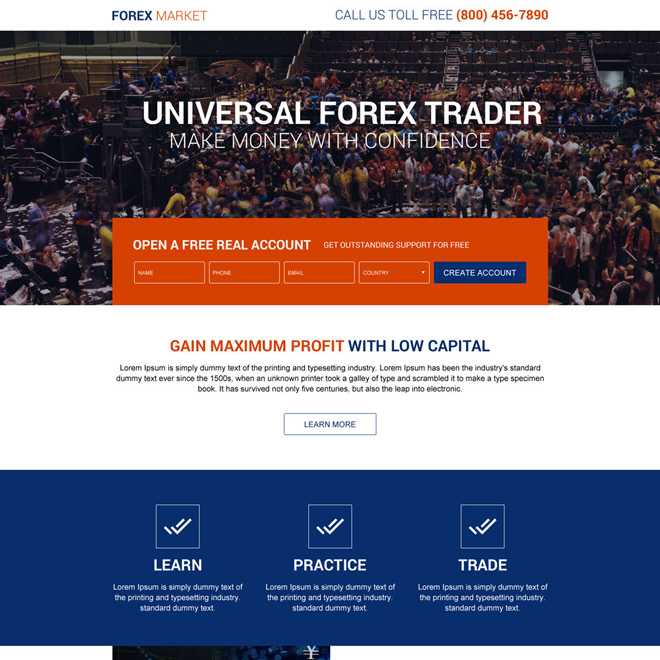universal forex trader responsive landing page design Forex Trading example