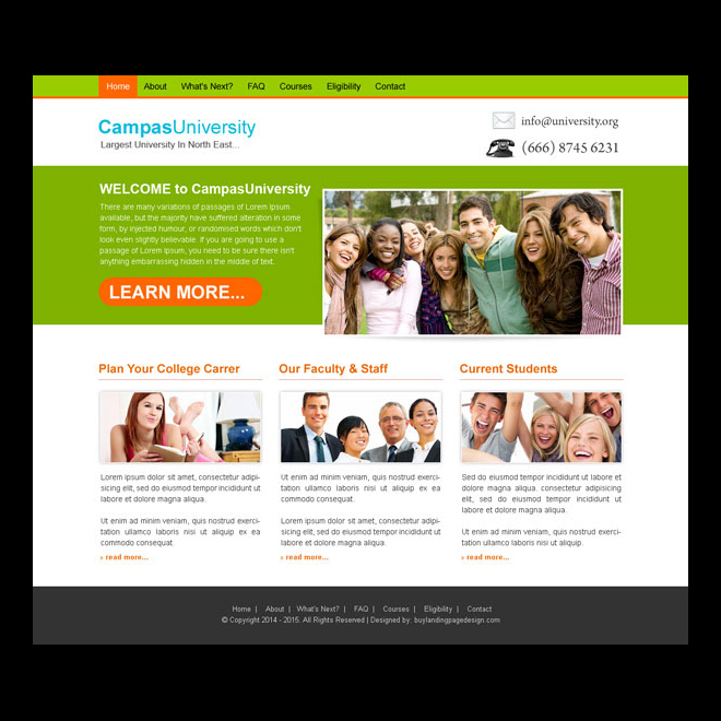 university campus attractive and converting website template design psd Website Template PSD example