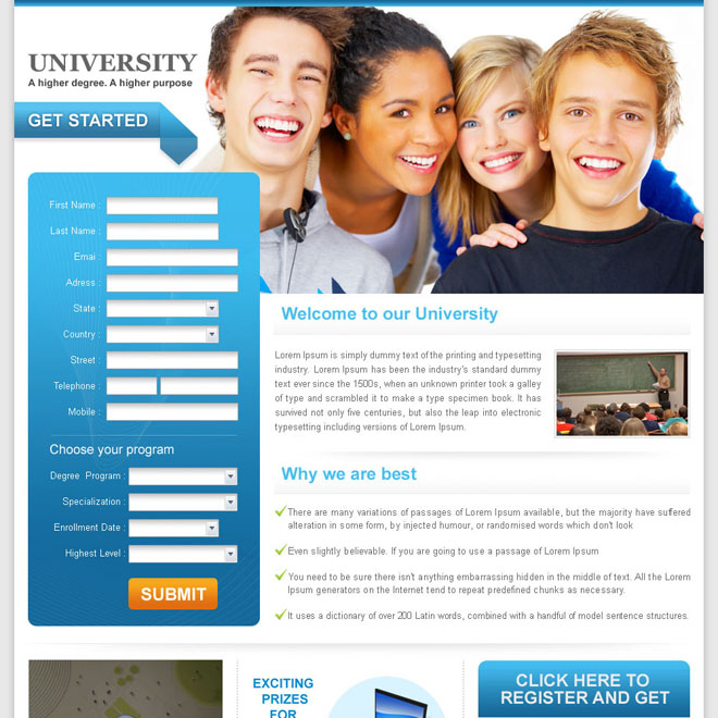 university education long lead capture landing page design for sale Education example