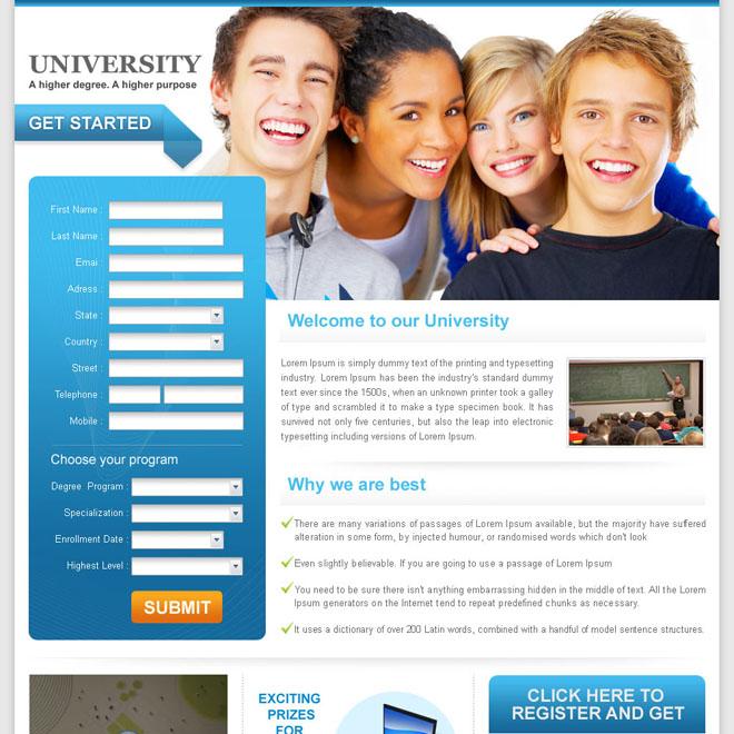 university education long lead capture landing page design for sale Education example