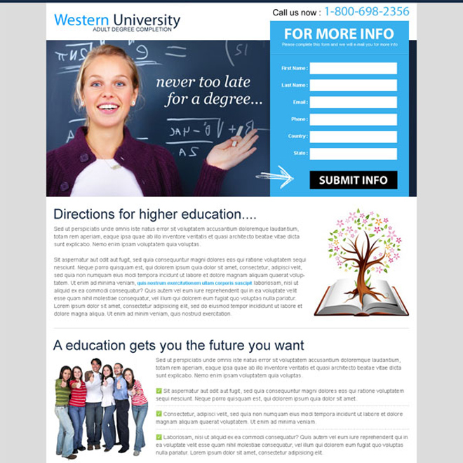 never too late for a degree lead capture effective landing page Education example