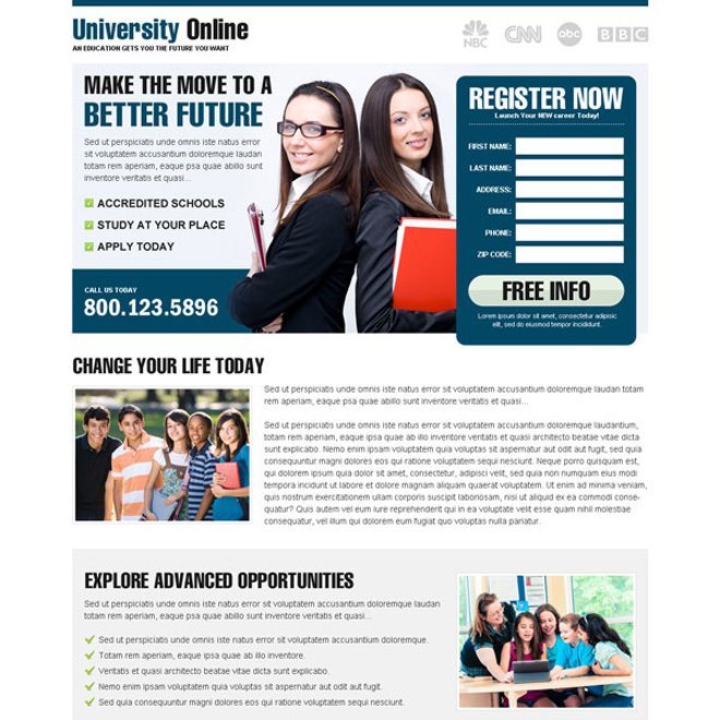 most appealing and converting lead gen landing page for education to get you higher conversion Education example