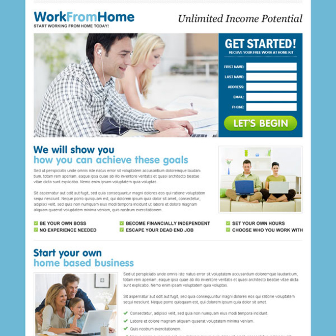 unlimited income potential minimal looking and effective squeeze page design Work from Home example