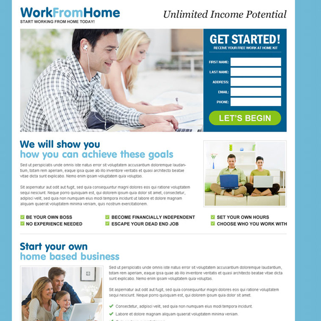unlimited income by doing work from home opportunity lead capture landing page design template Work from Home example