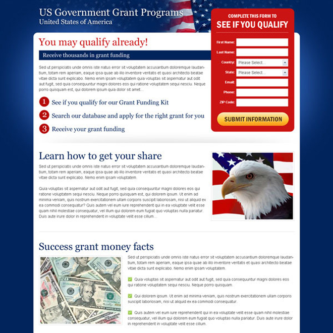 us government grant program user friendly and optimized landing page design Government Grants example