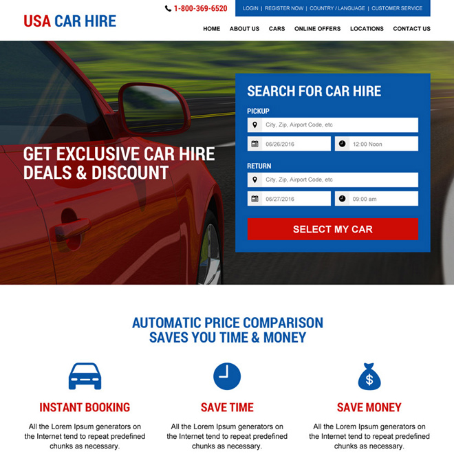 USA car hire services responsive website design Car Hire And Car Rental example