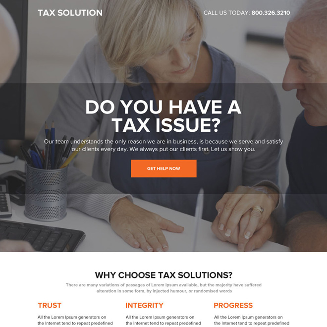 professional tax solutions responsive landing page design Tax example