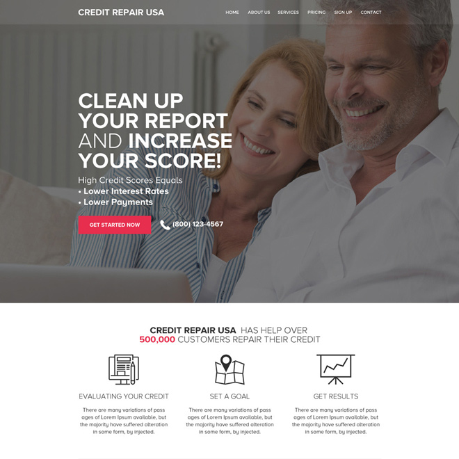 responsive credit repair lead capturing website design Credit Repair example