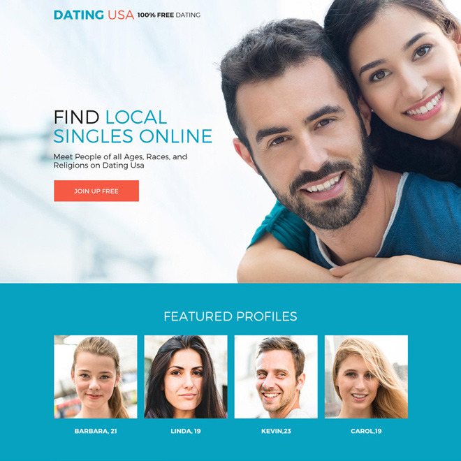 free dating sign up capturing responsive landing page design Dating example