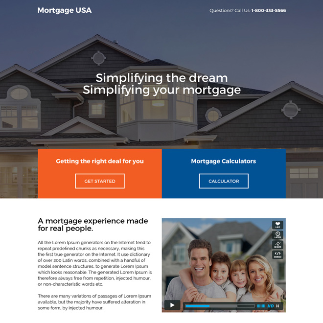 responsive usa mortgage deals landing page design Mortgage example